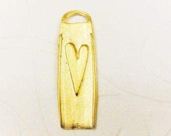 Vermeil, 18k gold over 925 sterling silver heart charm, vermeil rectangle charm with heart, gold heart,heart charm,heart