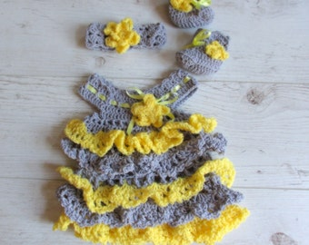 Ready to ship Crochet newborn  Dress with matching headband and booties, Ruffle Baby dress , Yellow Gray Baby Clothes, Grey Newborn Outfit