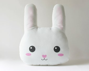 Bunny Rabbit Pillow Plush - Stuffed Bunny Face Cushion