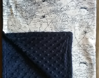 "26""X36"" Airplanes Blanket navy and white, navy Bubble Dot Minky,"