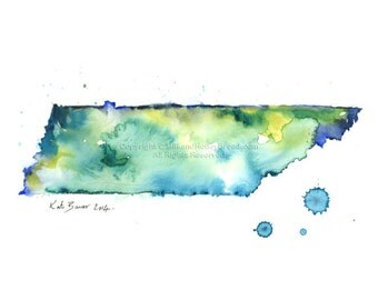 Tennessee Map - Watercolor map print