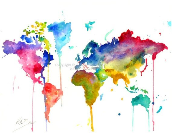 World map print of original watercolor illustration like this item gumiabroncs Choice Image