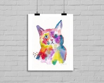 Rainbow Cat Portrait Illustration Art Watercolor Painting Print