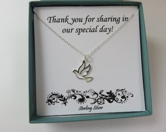 Dove Necklace, bridesmaid gift, Confirmation gift, adult Baptism gift, sterling silver dove, wedding jewelry, wedding thank you gift, bird