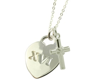 Sterling Silver Sweet 16 XVI Necklace (Free Shipping)