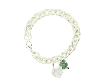 Silver Plated Sweet 16 Sincere Heart Bracelet With Lucky Clover (Free Shipping)