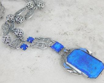 Art Deco Lapis Glass Filigree Necklace 99WE8Q-D