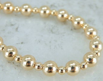 Vintage Yellow Gold Beaded Necklace, Perfect Wardrobe Essential RD2ZQV-N