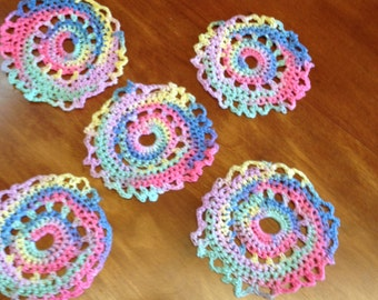 Crocheted Coasters Hand Made Hand Crocheted Finger Work Vintage Work 5 Hand Made Coasters