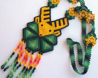 Mexican Huichol Beaded Deer and Peyote Necklace
