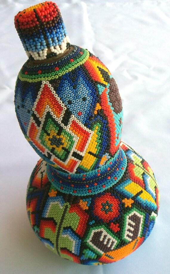 mexican huichol beaded sacred gourd bottle calabash