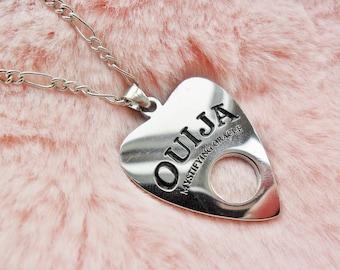 Spooky Creepy Silver Ouija Board Planchette Oracle Psychic Halloween Pendant Silver Necklace Jewellery Jewelry