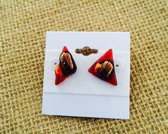 Beautiful red orange dicroic earrings fused glass