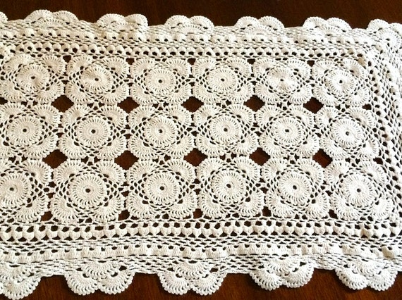 Free Crochet Patterns For Dresser Scarves : Small Ecru Crochet Lace Table Doily or Dresser Scarf
