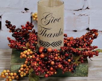 Thanksgiving decor, Fall Decor, Burlap Wrapped Vase, Fall Decoration, Table Decor, Mantle Decor, Rustic Fall Decor, Vase, Give Thanks