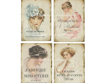 Vintage French Digital Ladies 6 x 4 inch Instant Download Digital Collage Sheet, Vintage French Women Download