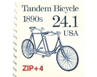 5 Unused Tandem Bicycle Postage Stamps // Vintage 24 Cent Biking Stamps