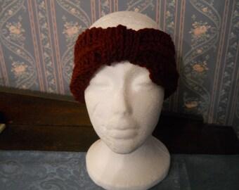 Pretty Cranberry Color Handmade Knitted/Crocheted Ear Warmer/Headband/Head Wrap