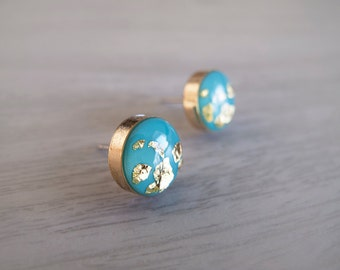 Turquoise and Real 23k Gold Flakes Round Stud Earrings - Hypoallergenic Titanium Posts