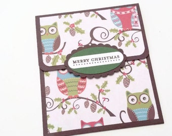 Owl Gift Card Holder, Christmas Gift Card Holder With Owls, Holiday Gift Card Holder