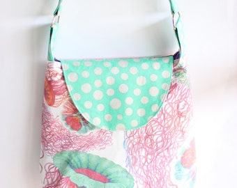Cross Body Handbag Jellyfish and Aqua Polka Dot