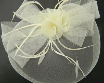 Vintage inspired ivory tulle bow flower fascinator with feathers