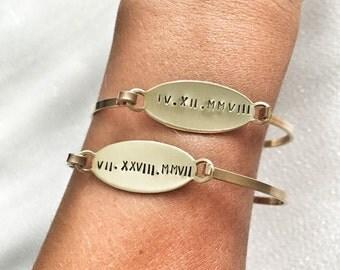 Oval Personalized Bangle - roman numerals mommy bracelet coordinates monogram