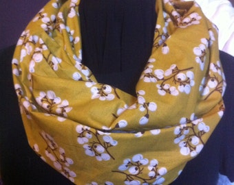 White Cotton Blossoms on Mustard Yellow Cotton Fabric Infinity Scarf