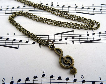 Treble clef necklace - music note charm - antique bronze - singer musician jewellery