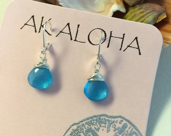 Gemstone Earrings, Silver Gemstone Earrings, Blue Earrings, Chalcedony Earrings