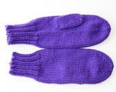 Purple Mittens for Adults - Traditional Mittens - Old Fashioned Mittens - Iris Adult Mittens - Knit Mittens - Knit Purple Mittens - Lupus