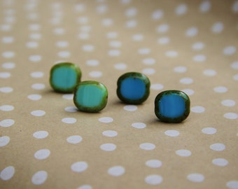 Blue and Teal Soft Square Stone Stud Earrings