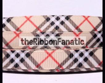 "5 yds 3/8""   Plaid Print Printed Grosgrain Ribbon"