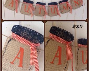Autumn mason jar banner, burlap banner, mason jar banner, autumn banner, fall banner