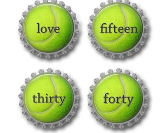 Tennis ball magnets tennis party favors tennis player team gift under 10. Set of 4.