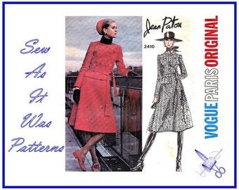 1960s Vogue Paris Original 2410 Jean Patou Suit Collarless Jacket Flared Skirt Tie Belt Vintage Sewing Pattern Misses' Size 12 Bust 34