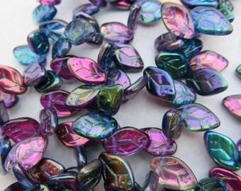 Magic Blueberry Czech Glass Leaves, 24 Beads - Item 3247