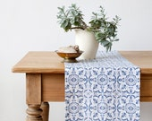 Mosaic Stone Washed Linen Table Runner