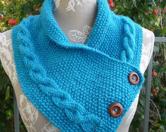 Pure Wool Cable Buttoned Neck-warmer - 1553