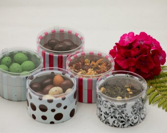 Personalized Edible Wedding Favors / Corporate Promotional Gifts/ Shower Favors.  Clear Lid Container.  Chocolate Favors. Organic Tea.