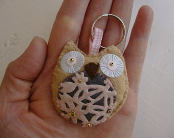 SALE 50% off,Hand made felt owl key ring/ key charm/ bag charm