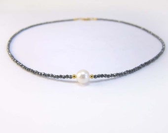 Haematite chain with nice white freshwater pearl