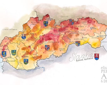 Slovakia Map // ILLUSTRATION // 17x11