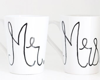 Coffee Mug, One of a Kind Coffee Cup, Mr and Mrs, Mr and Mrs Mugs, Mr and Mrs Cups, His and Her Mugs, His and Her Cups