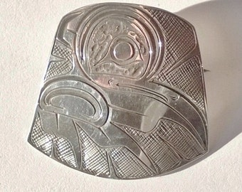 Sterling Silver Haida Engraved Pin/Pendant Fine Hand Engraved Piece Signed