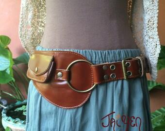 Leather Steampunk Belt with Pockets / Festival Purse / Iphone 6 Pocket / Hip Belt / Fanny Pack / Playa Pouch / Utility Belt / Brown / Black
