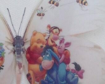 4 Winnie The Pooh Tigger Eeyore Piglet Roo & Bees 3D Wall Sticker Butterflies