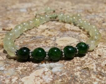 27 Bead Wrist Mala. Chrome Diopside, Prehnite and Sterling Silver Bracelet