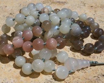 Rainbow Moonstone Mala beads, 108 beads, 8mm knotted Mala. Prayer beads. New Beginnings