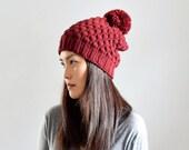 Burgundy Knit Pom Pom Hat, Alpaca Wool Hat, Pom Hat Women, Slouchy Beanie Hat